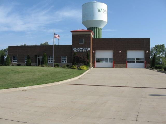 Wadsworth Fire Station Number 2 With Water Tower Standing Behind