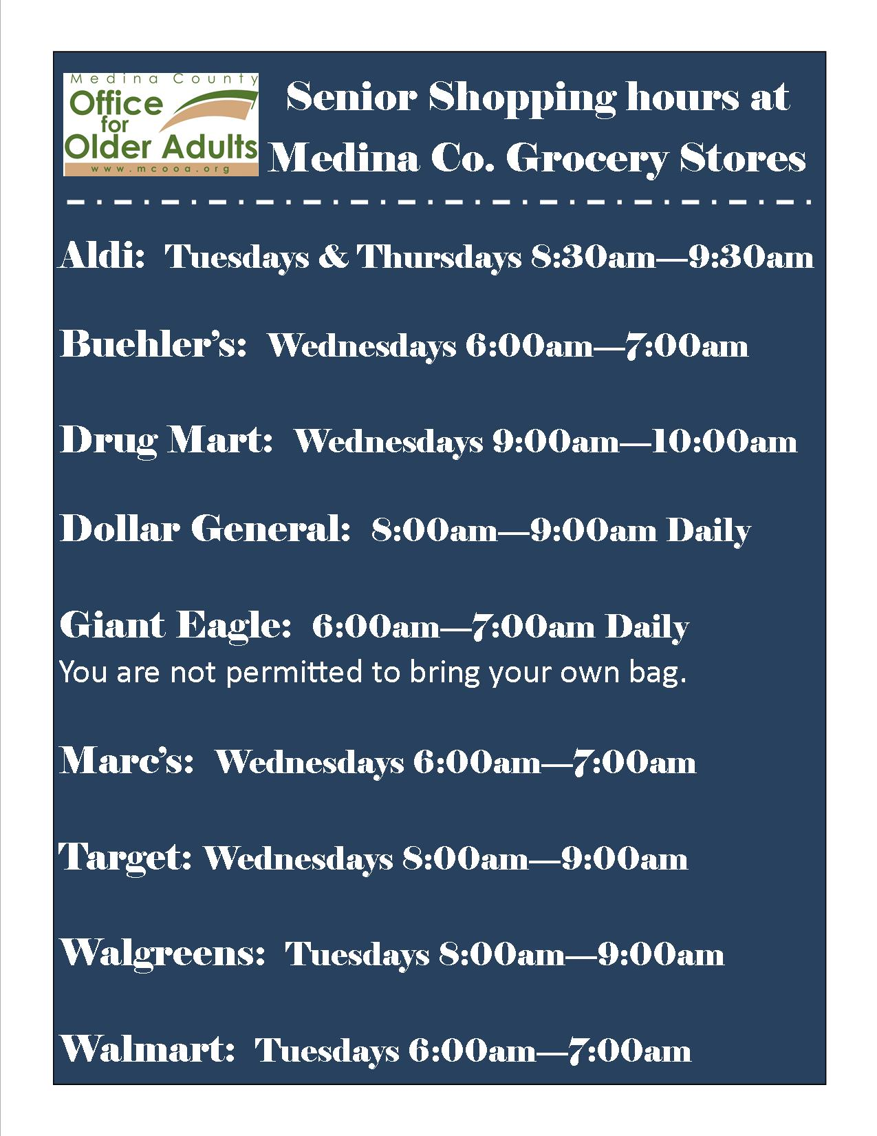 Senior Citizen - Grocery Store Dedicated Shopping Hours