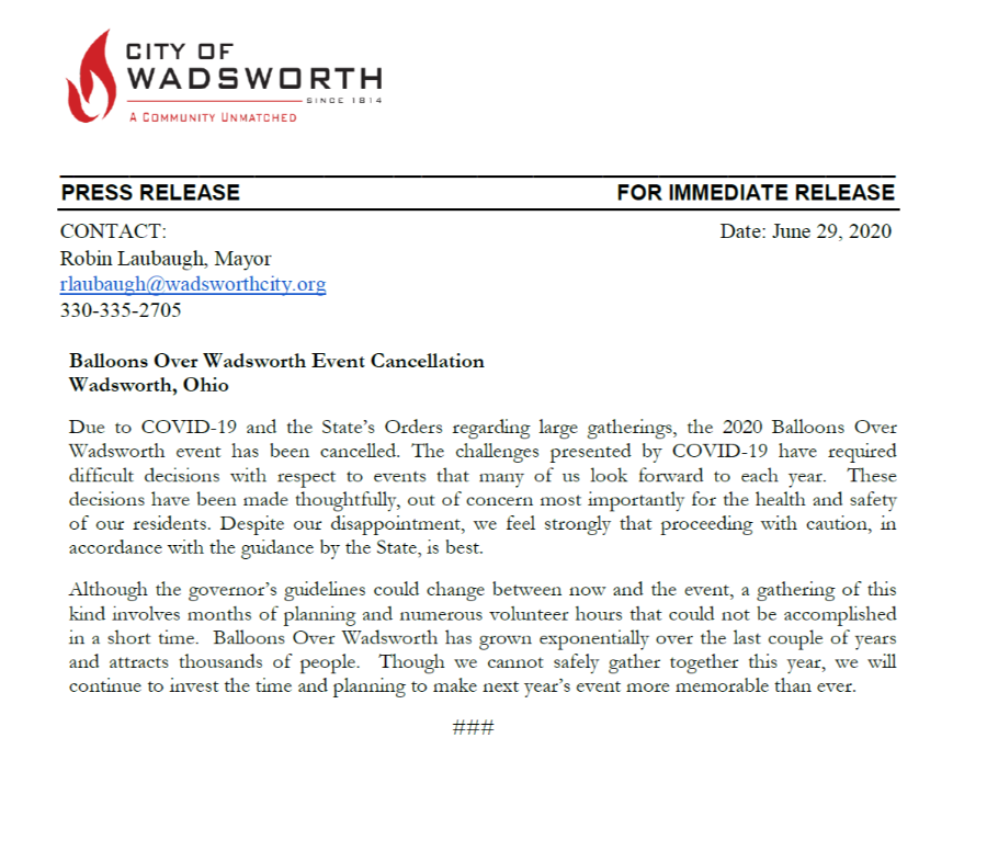 Balloons Over Wadsworth Event Cancellation PR